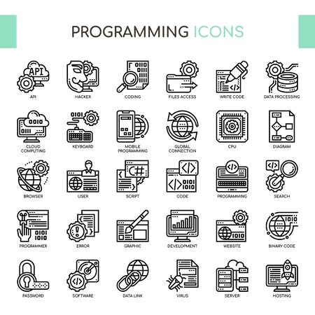 Programming , Thin Line and Pixel Perfect Icons