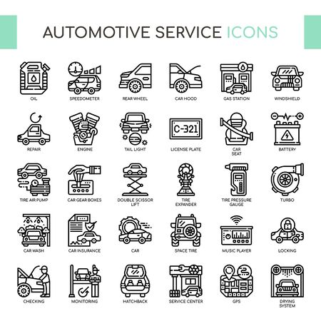 Automotive Service , Thin Line and Pixel Perfect Icons Vettoriali
