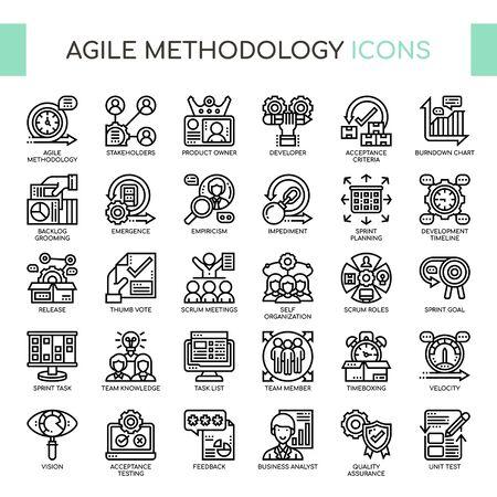Metodología ágil, iconos de líneas finas y píxeles perfectos Ilustración de vector