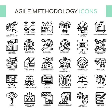 Agile Methodology , Thin Line and Pixel Perfect Icons