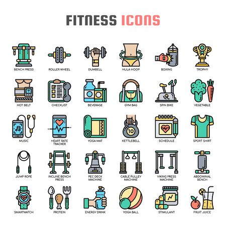 Fitness , Thin Line and Pixel Perfect Icons