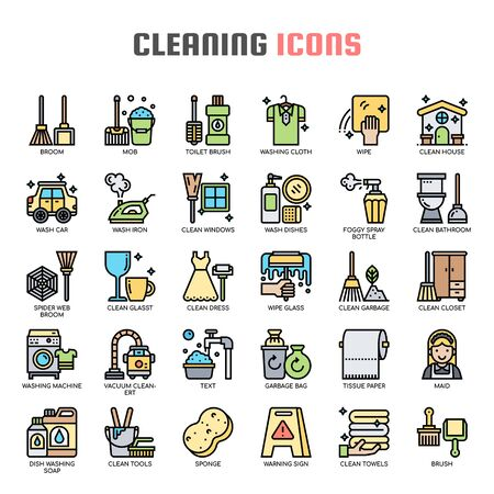 Cleaning , Thin Line and Pixel Perfect Icons Иллюстрация
