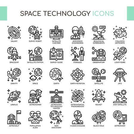 Astronautics Technology , Thin Line and Pixel Perfect Icons
