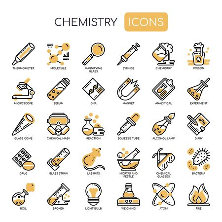 Chemistry , Thin Line and Pixel Perfect Icons Иллюстрация