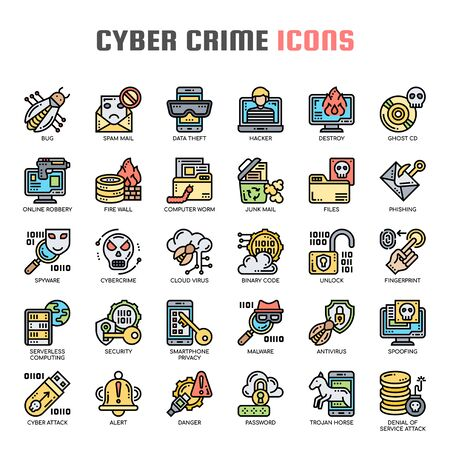Cyber Crime , Thin Line and Pixel Perfect Icons