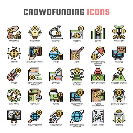 Crowdfunding , Thin Line and Pixel Perfect Icons  イラスト・ベクター素材