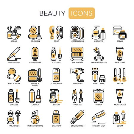 Beauty , Thin Line and Pixel Perfect Icons Vectores