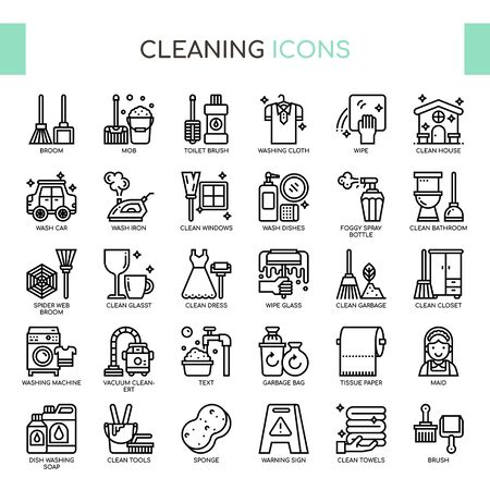 Cleaning , Thin Line and Pixel Perfect Icons Ilustração
