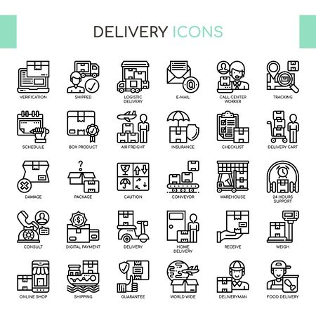 Delivery Elements , Thin Line and Pixel Perfect Icons