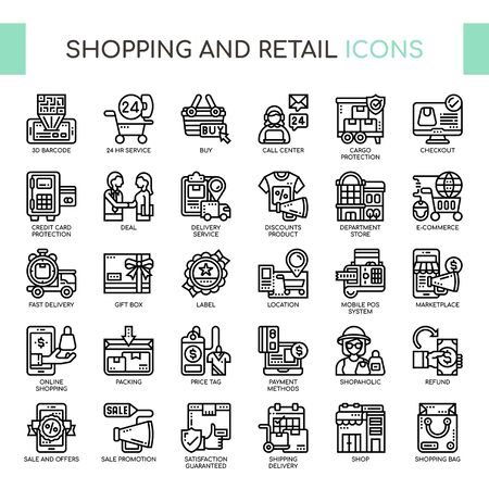 Shopping and Retail , Thin Line and Pixel Perfect Icons