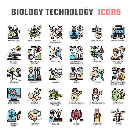 Biology technology , Thin Line and Pixel Perfect Icons Ilustração