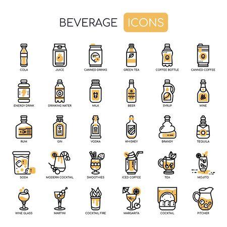 Beverage , Thin Line and Pixel Perfect Icons Vektoros illusztráció