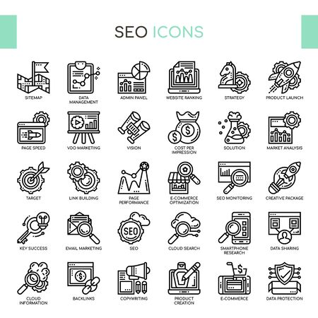 SEO , Thin Line and Pixel Perfect Icons