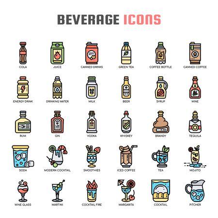 Beverage , Thin Line and Pixel Perfect Icons Ilustração