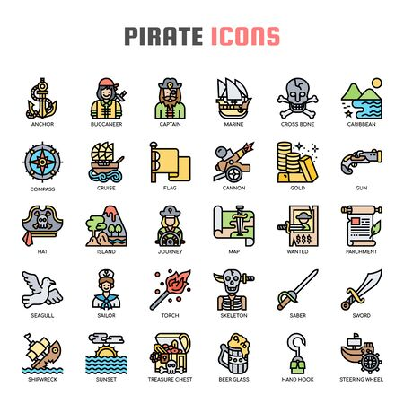 Pirate , Thin Line and Pixel Perfect Icons Illustration