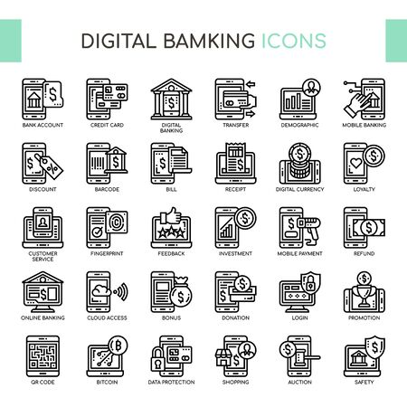 Digital Banking , Thin Line and Pixel Perfect Icons