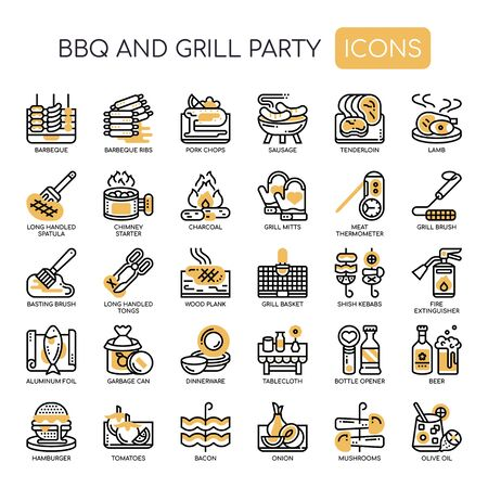 BBQ and Grill Party , Thin Line and Pixel Perfect Icons