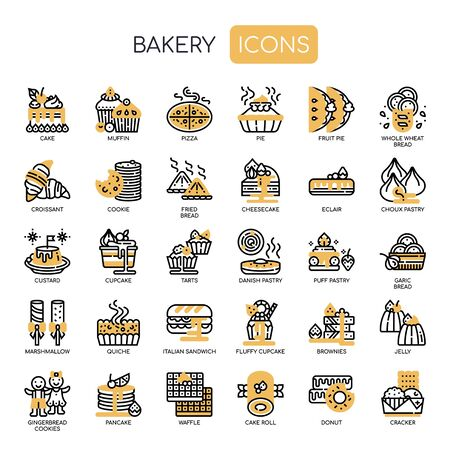 Bakery , Thin Line and Pixel Perfect Icons Stock Illustratie