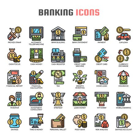 Banking , Thin Line and Pixel Perfect Icons