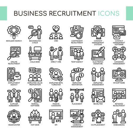 Business Recruitment , Thin Line and Pixel Perfect Icons Ilustração