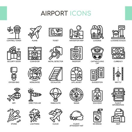 Airport , Thin Line and Pixel Perfect Icons Ilustração