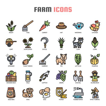 Farm , Thin Line and Pixel Perfect Icons Illustration