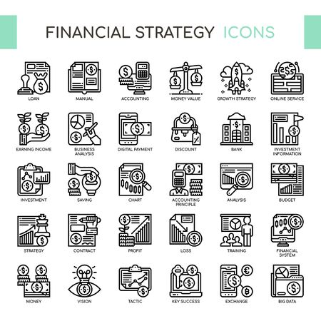 Financial Strategy , Thin Line and Pixel Perfect Icons