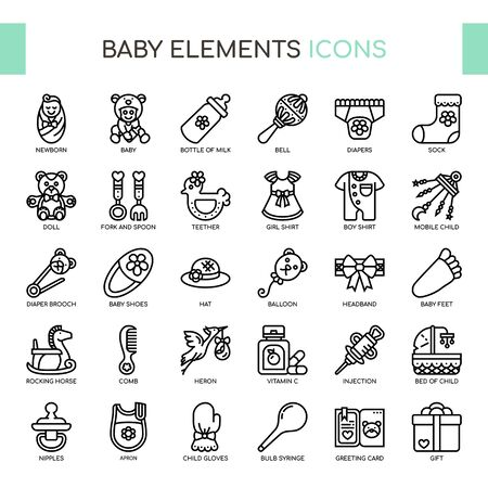 Baby , Thin Line and Pixel Perfect Icons Ilustração