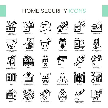 Home Security , Thin Line and Pixel Perfect Icons Illusztráció