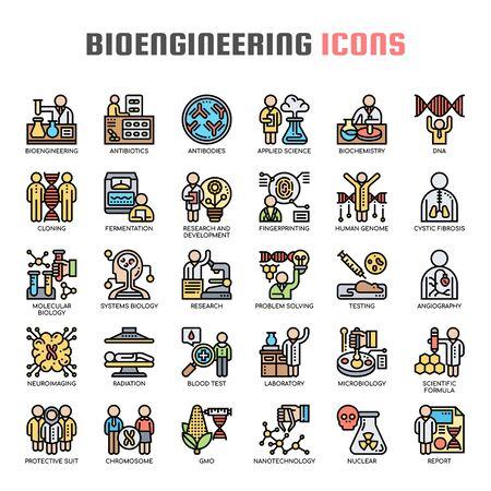 Bioengineering , Thin Line and Pixel Perfect Icons Ilustração