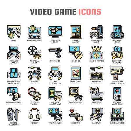 Video Game , Thin Line and Pixel Perfect Icons Ilustração