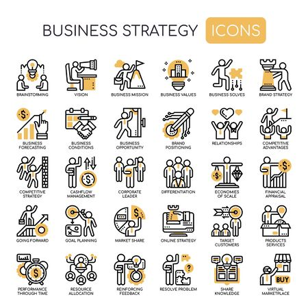 Business Strategy , Thin Line and Pixel Perfect Icons Vectores