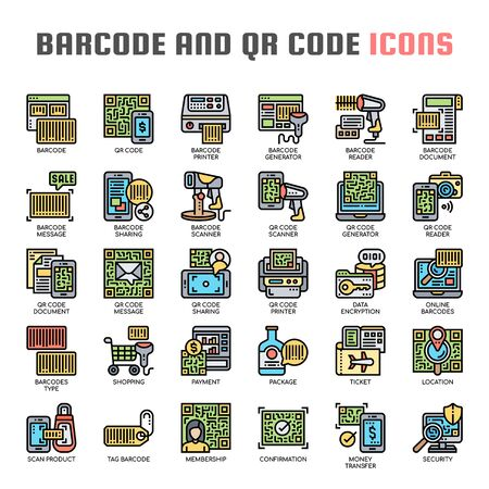 Barcode and QR Code , Thin Line and Pixel Perfect Icons Stock Vector - 130109462