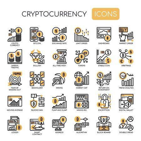 Crytocurrency , Thin Line and Pixel Perfect Icons Ilustração