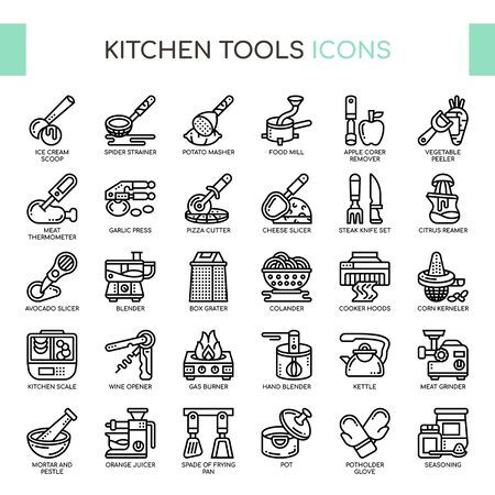 Kitchen Tools , Thin Line and Pixel Perfect Icons Imagens - 130109256