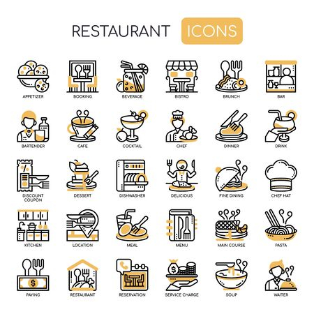 Restaurant , Thin Line and Pixel Perfect Icons