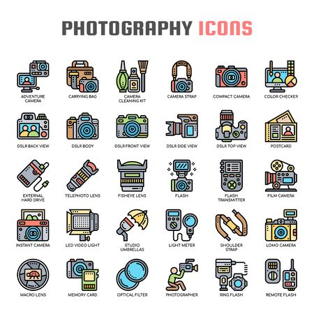 Photography , Thin Line and Pixel Perfect Icons Ilustrace
