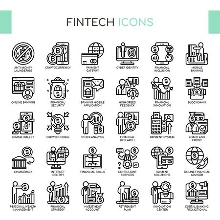 Fintech , Thin Line and Pixel Perfect Icons 矢量图像