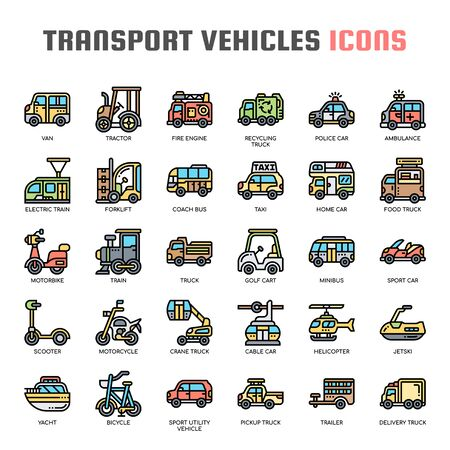 Transport Vehicles , Thin Line and Pixel Perfect Icons
