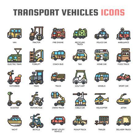 Vehículos de transporte, iconos de líneas finas y píxeles perfectos Ilustración de vector