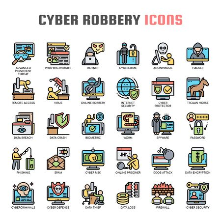 Cyber Robbery , Thin Line and Pixel Perfect Icons