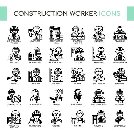 Construction Worker , Thin Line and Pixel Perfect Icons