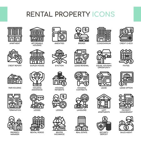 Rental Property Investing , Thin Line and Pixel Perfect Icons