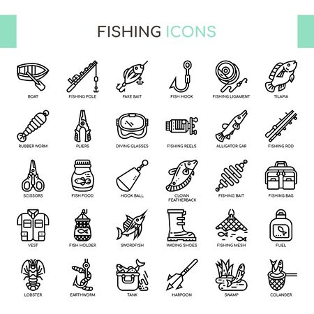 Fishing , Thin Line and Pixel Perfect Icons Ilustração