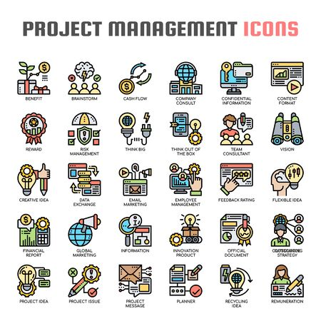 Project Management , Thin Line and Pixel Perfect Icons Иллюстрация