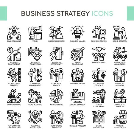 Business Strategy , Thin Line and Pixel Perfect Icons Illustration
