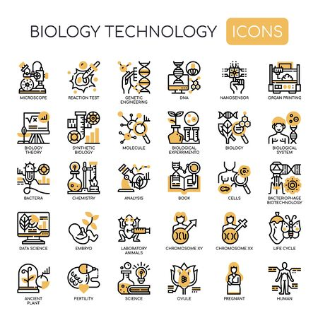 Biology technology , Thin Line and Pixel Perfect Icons 向量圖像