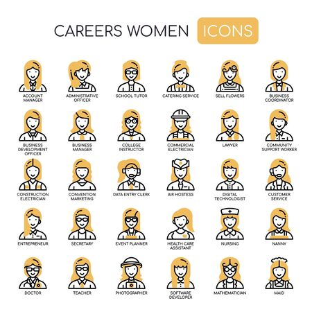 Careers Women , Thin Line and Pixel Perfect Icons Ilustração