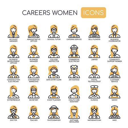 Karriere Frauen, Thin Line und Pixel Perfect Icons