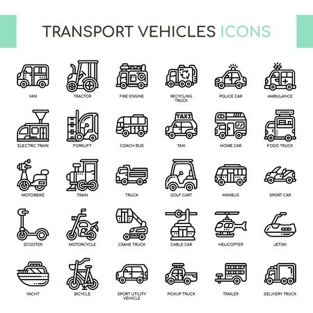 Transport Vehicles , Thin Line and Pixel Perfect Icons Фото со стока - 130109183